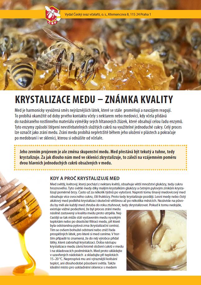 Složení medu a krystalizace medu