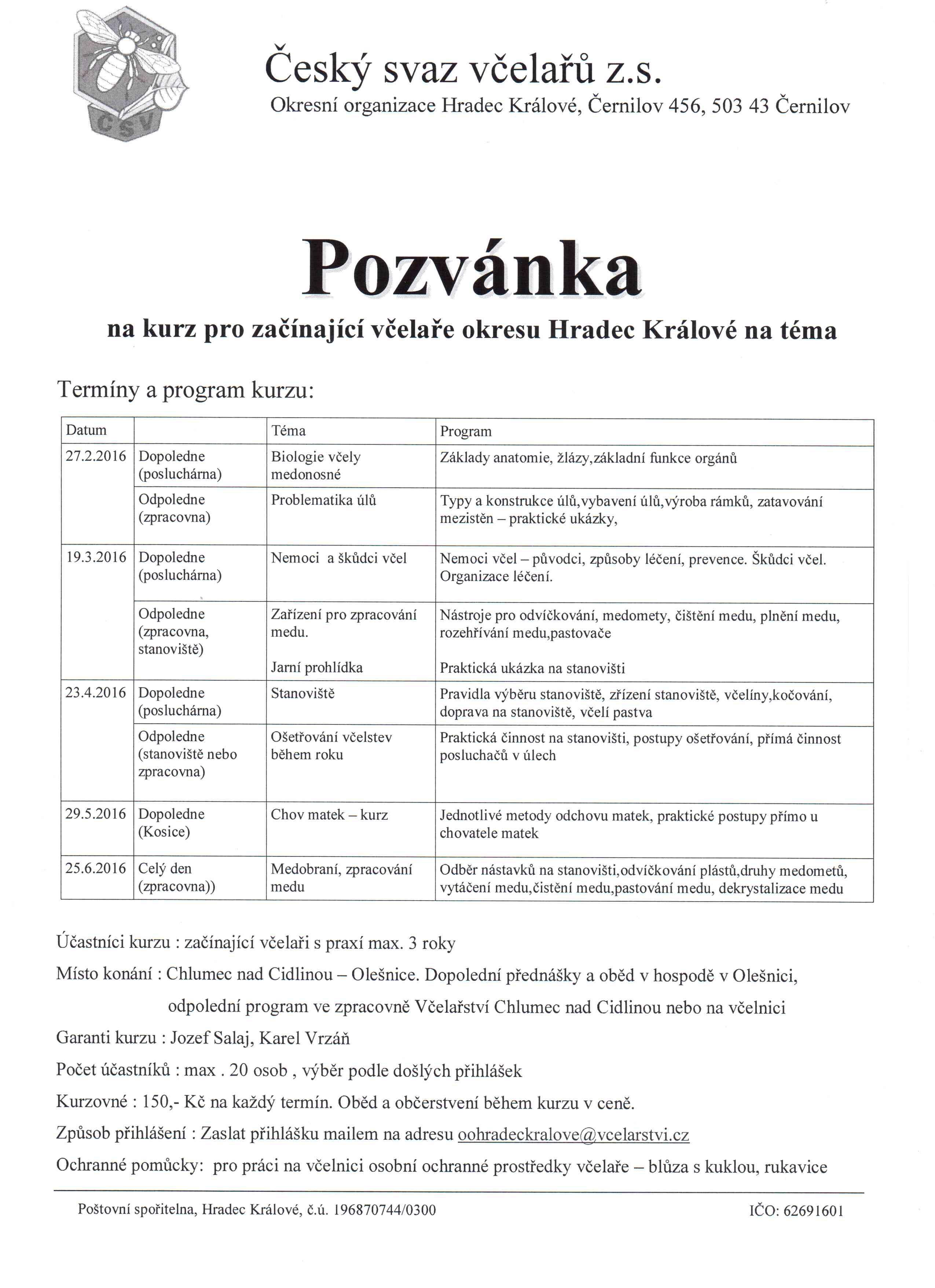 Pozvánka na kurzy pro začínající včelaře okresu Hradec Králové